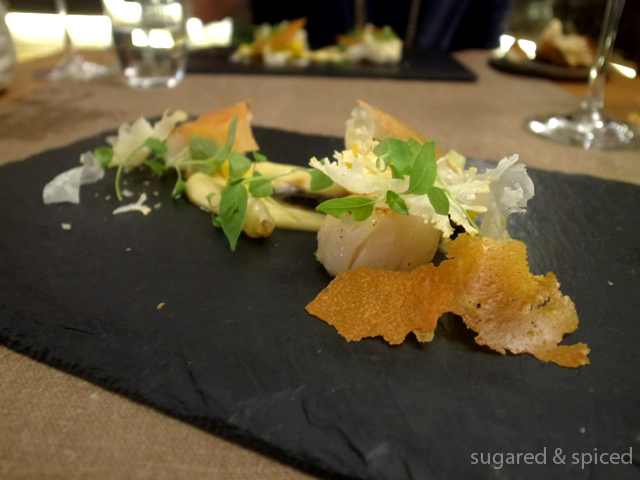 , yellow cauliflower, cauliflower purée, honey sauce, parmesan ...